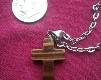 Tigers eye cross necklace