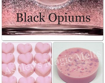 3 black opium perfume designer soy wax melts, strong wax melts, wax melt tarts, best wax melts, long lasting wax melts