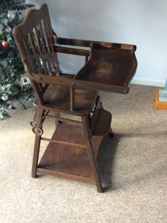 - Antique Baby High Chair Converts Into Stroller