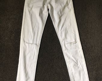 Long White Ripped Jeans