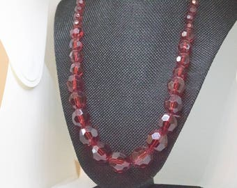 Vintage Dark Red Faceted Beaded Necklace | dark red jewelry set dainty red necklace something old ideas trending now most popular items