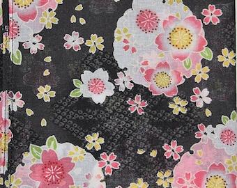 Japanese Cotton Fabric 50cm / Handkerchief - Black Floral Sashiko