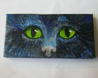 Cat eyes, ORIGINAL Miniature painting, Black cat, Cat lover, Cat Art,  Green Eyed Cat