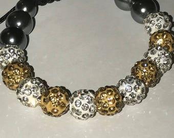 White and Gold Shambala Bracelet