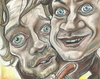 Greyjoy and Bolton, a touching bromance. A3 print 600 pixels per inch resolution. Signed by the artist.