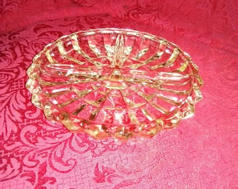 Vintage clear 3 part relish tray