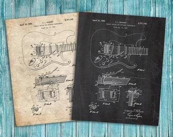Fender Guitar Patent Poster, Music Decor, Guitar Art, Guitar Decor, Patent Print Poster Wall Decor