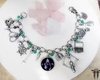 Green Arrow DC Comics Oliver Queen Inspired Double Sided Photo Charm bracelet