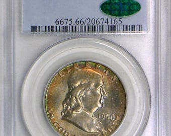 1958-D Franklin Half Dollar PCGS MS-66 With CAC; Nice Color!