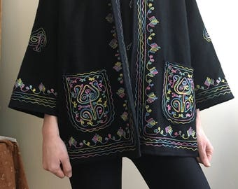 1970's Indian rainbow embroidered wool sweater jacket • Vintage • Ethnic • Hippie • Bohemian • Retro • India • Embroidery • Colourful • Cute