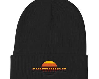 Joe The Mutant Synthwave Sunset Knit Beanie