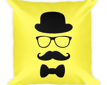 Square Pillow Mustache Man