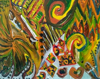 FAR BEYOND - Acrylic on Paper - 9in x 12in (22.86cm x 30.48cm) - Abstract Art Original Painting by LeslieA.