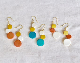 Colourful Wooden earrings, Colourful Circle earrings, Colourful earrings, Circle earrings, Wooden earrings, Unique earrings