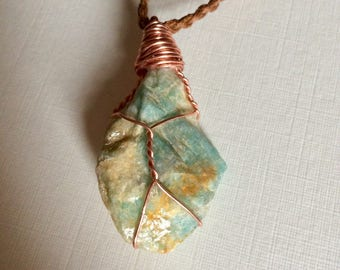 Amazonite Necklace, Copper Wrapped, Adjustable Cotton Cord