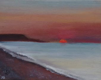"1. Sunrise, Ardore Marina, Calabria, Italy, small unframed original oil painting, canvas board 5x7"""