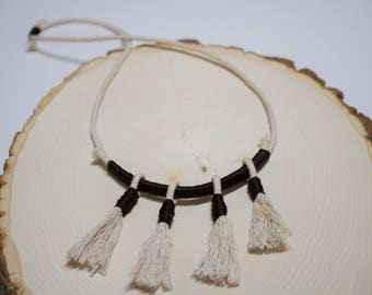 Beige, dark brown 4 tassel necklace
