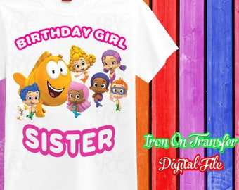 Sister, Bubble Guppies Iron On Transfer, Bubble Guppies Iron On, Bubble Guppies Birthday Shirt Sister Iron On, Instant Download