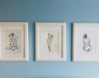 Set of three naked women - art - black and white - canvas painting - art print