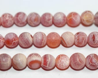 15 inches Full strand,Weathering agate,Frost Red Agate Matte smooth round beads  6mm 8mm 10mm 12mm,loose beads,semi-precious stone