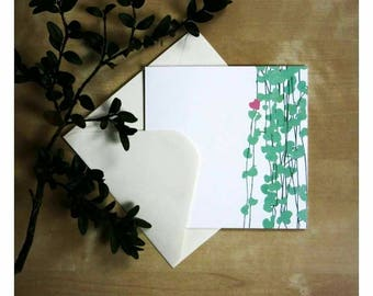 Floral pattern and little pink heart card