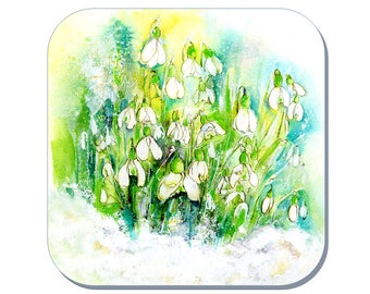 Snowdrops - Flower Coaster (Corked Back). From an original Sheila Gill Watercolour Painting