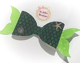 Mermaid Bow - Girls Bow - Glitter Bow - Hair Accessories - Hair Bow - Green Bow