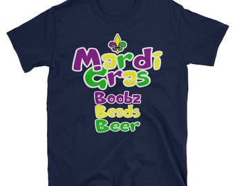 Mardi Gras boobz Beads Beer Event  Short-Sleeve Unisex T-Shirt | Mardi Gras Graphic Party T-Shirt And Tee