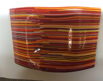 Multicolored fused glass candle holder