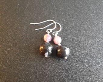 Sterling Silver Snowflake Obsidian and Lepidolite Earrings