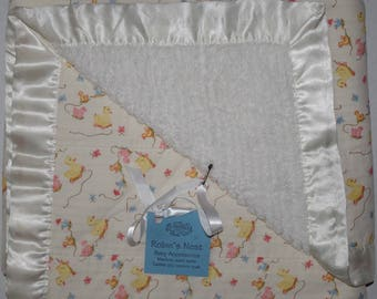 Baby Blanket - Cotton Chenille with Satin - Pull Toys