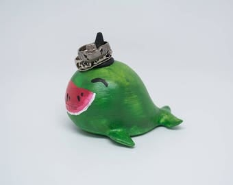 Painted 3D Printed Party Whale Ring Holder