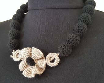 Hand-knit Crochet Necklace: Black Power