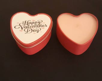 Valentine scented candle in tin.