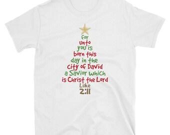 The Christmas Story Luke 2-11 Xmas Tree Shirt Gift Tee