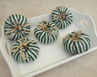 5 deco pumpkins, autumn, green-white striped, table decoration