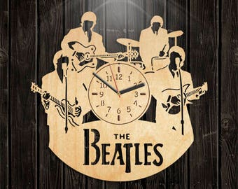 Handmade Gifts, Beatles Wooden Clock, Music Gift For Men, Valentines Day Gift, Wall Clock Large, Handmade Clock, Beatles Wood Clock