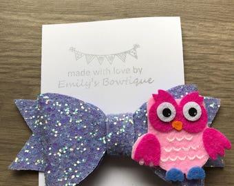 Lilac glitter hair bow with owl felt detail