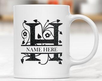 Monogrammed Mug, Monogram Coffee Mug, Custom Personalized Coffee or Tea Mug, Initial Mug , Letter Mug, Alphabet Mugs, His and Hers Mugs