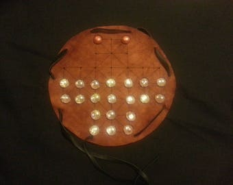 Leather Game Board/Pouch (Halatafl/Fox and Geese), handmade with pieces and instructions