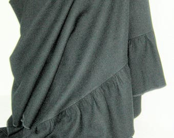 Black 100% wool Crepe Oversized Wrap