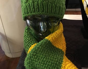 Green and yellow cable hat and scarf set