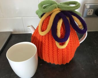 Fun hand-knitted tea cosy