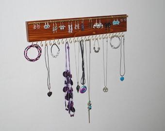 Wall Necklace Holder - dark chestnut