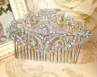 Vintage hair comb Wedding hair comb Silver hair comb Crystal hair comb Hair jewelry Art Deco hair comb Bridal hair comb Rhinestone hair comb