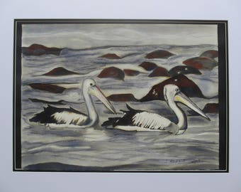 Pelicans swimming in charcoal, black ink and graphite sticks