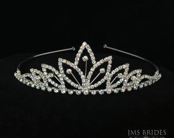Zoe Wedding Rhinestone  ,Tiara,Bride,large,Bridal l Bridal Crystal Wedding Crown Rhinestone Tiara Wedding Tiara Diamante