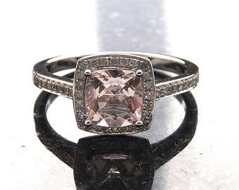 Cushion Morganite & Diamond Engagement Ring in 14K Rose Gold- Morg1006