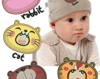 Machine Embroidery Design - Applique Animals faces ( 4 Machine Embroidery Designs  )  4*4, 5*5, 6*6