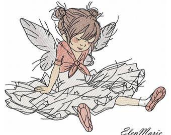 Ballerina_Machine Embroidery Design - Embroidery Ballerina  5*7, 6*8, 6*9, 7*10